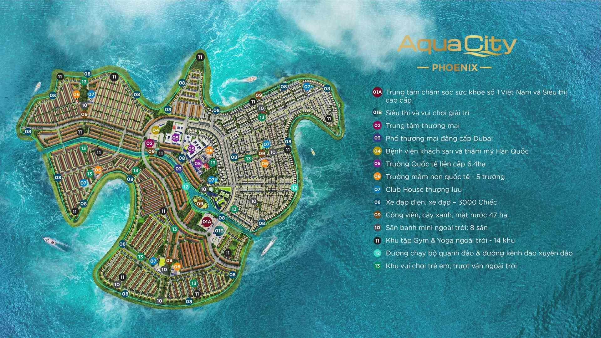 chi tiet cac tien ich cao cap tren Dao Phuong Hoang Phoenix South Aqua City Dong Nai Novaland