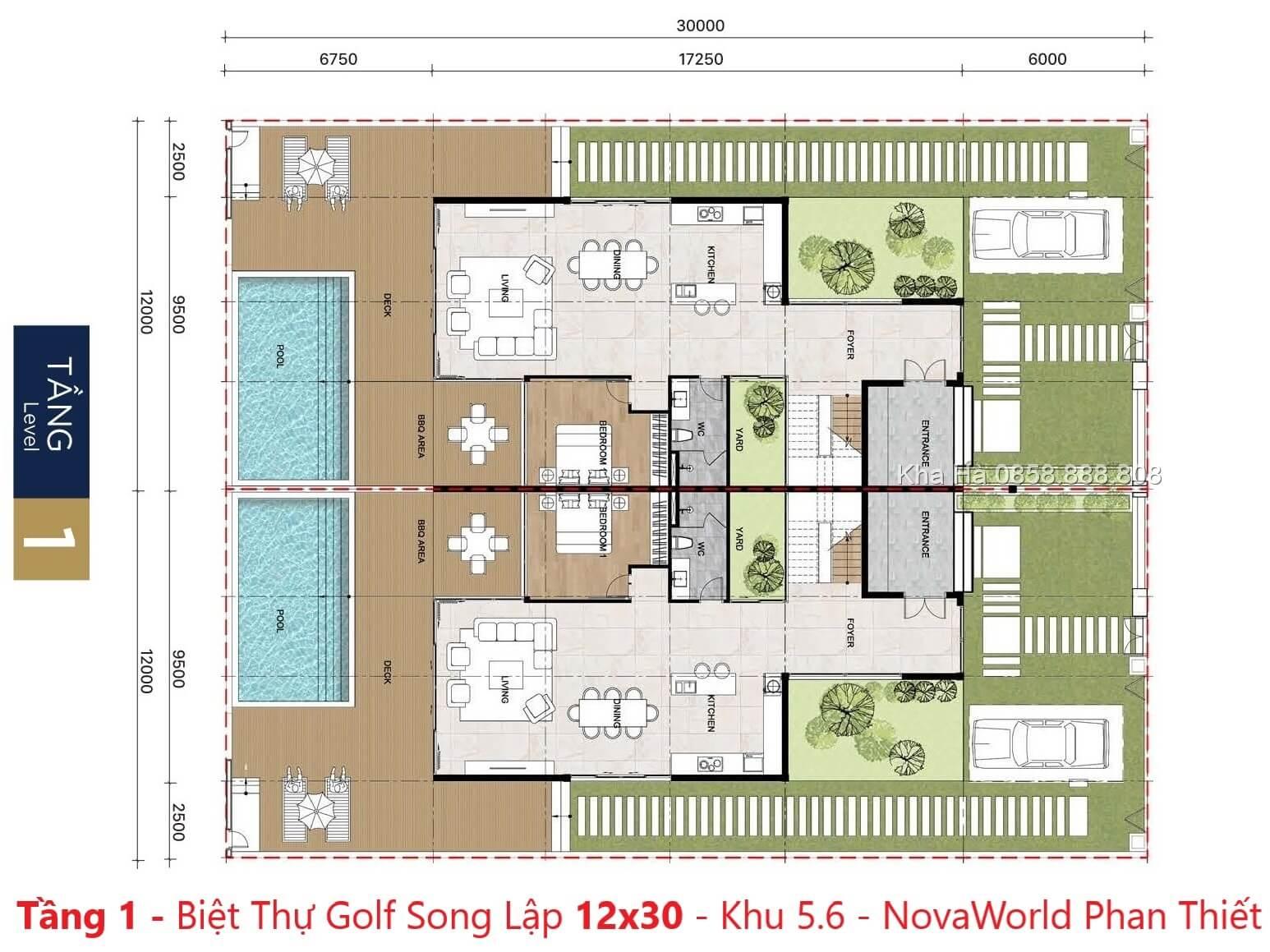 Tầng 1 - Villas PGA Golf Garden 12x30