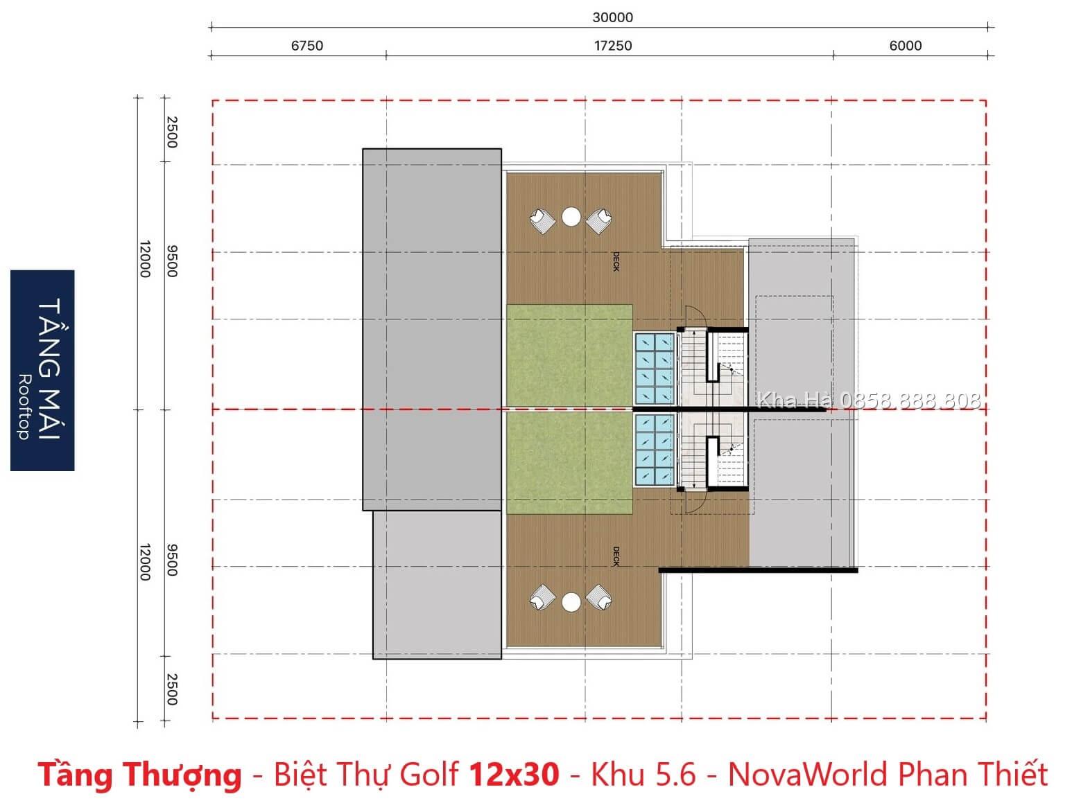 Tầng thượng - Villas PGA Golf Garden 12x30